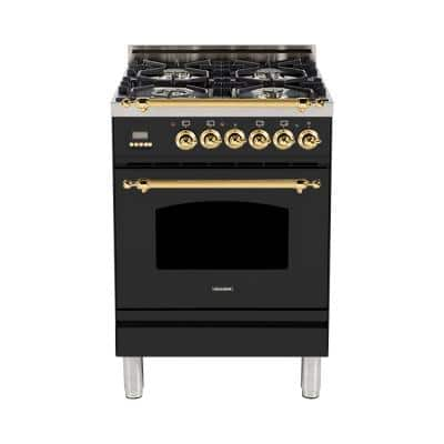 24 in. 2.4 cu. ft. Single Oven Italian Gas Range with True Convection, 4 Burners, LP Gas, Brass Trim in Matte Graphite