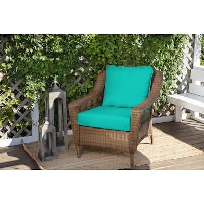 24 in. x 22 in. CushionGuard Sea Glass Deep Seating Outdoor Lounge Chair Cushion