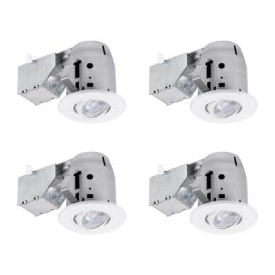 3 in. White IC Rated Dimmable Recessed Lighting Kit, LED Bulbs Included (4-Pack)