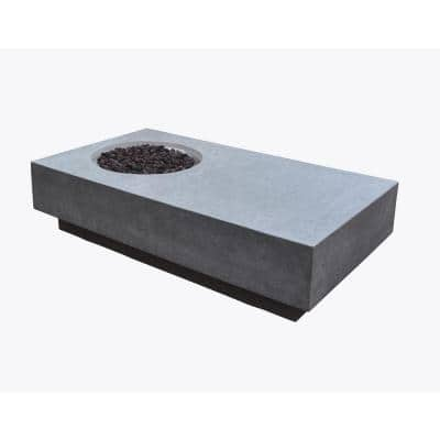Metropolis 56 in. x 32 in. x 14 in. Rectangle Concrete Natural Gas Fire Pit Table in Light Gray
