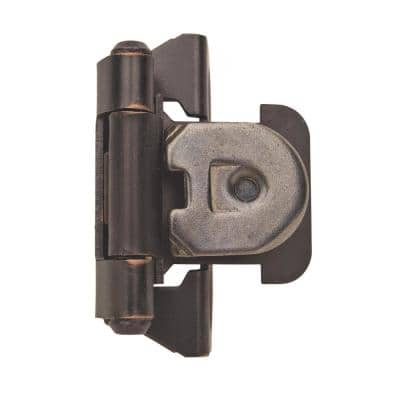 Oil-Rubbed Bronze 1/4 in. Overlay Single Demountable, Partial Wrap Cabinet Hinge (2-Pack)