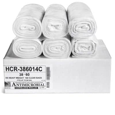 38 in. x 60 in. 60 Gal. Clear Trash Bags (Pack of 200) 14 mic (eq) for Janitorial and Industrial