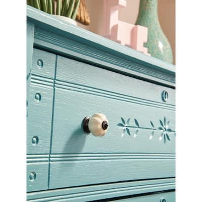 1-1/2 in. (38mm) Cocoa Bronze and Ivory Ceramic Melon Cabinet Knob