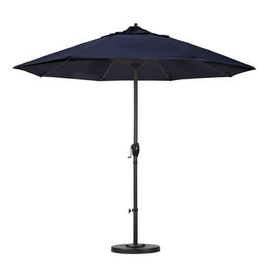 9 ft. Aluminum Auto Tilt Patio Umbrella in Navy Blue Olefin