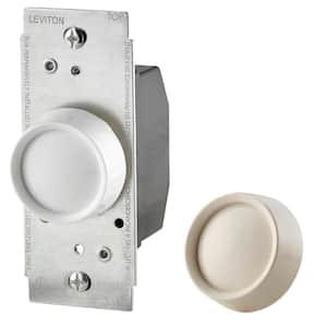 Trimatron 600-Watt Single-Pole/3-Way Universal Push On/Off Rotary Dimmer, White/Light Almond