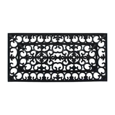 A1HC Scrollwork Beautifully Hand Finished for Indoor/Outdoor Use Black 24 in. x 48 in. Rubber Doormat