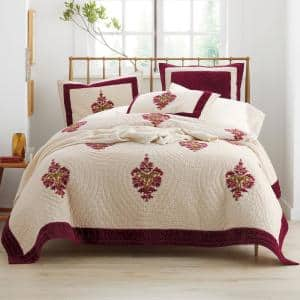 Orleans Multicolored Geometric Textured Cotton Blend Full/Queen Quilt