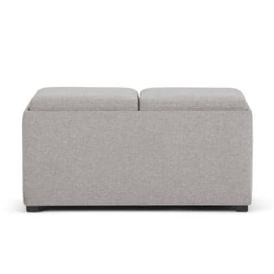 Lincoln 35 inch Wide Contemporary Rectangle Storage Ottoman in Cloud Grey Linen Look Fabric