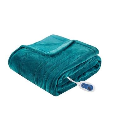 60 in. x 70 in. Heated Plush Teal Full Electric Throw Blanket