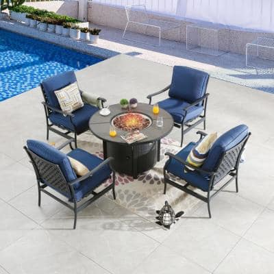 5-Piece Metal Patio Fire Pit Seating Set with Blue Cushions