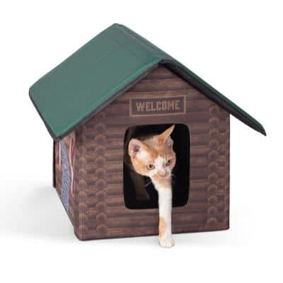 Outdoor Kitty House-Log Cabin Style-18 in. x 22 in. x 17 in.