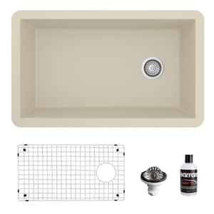 QU-670 Quartz/Granite 32 in. Single Bowl Undermount Kitchen Sink in Bisque with Bottom Grid and Strainer