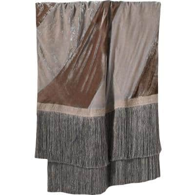 Luscious Grey/Brown Silk Velvet Throw