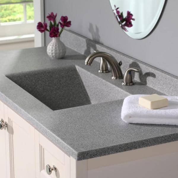Swan Contour 49 In W X 22 In D Solid Surface Vanity Top With Sink In Gray Granite Cv2249 042 The Home Depot
