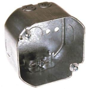 4 in. Drawn Octagon Electrical Box, NMSC Clamps