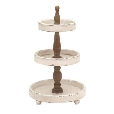 15 in. x 25 in. Off White and Oak Brown 3-Tiered Round Tray Stand