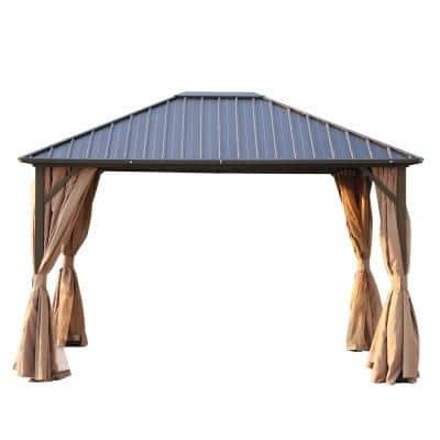 10 ft. x 12 ft. Brown Aluminum Frame Hardtop Patio Gazebo with Mesh Netting and Privacy Curtains