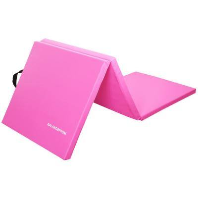 Tri-Fold Folding Pink 24 in. W x 72 in. L x 2 in. Thick Foam Exercise Mat (12 sq. ft.)