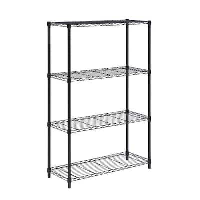 Black 4-Tier Heavy Duty Metal Wire Garage Storage Shelving Unit (36 in. W x 54 in. H x 14 in. D)