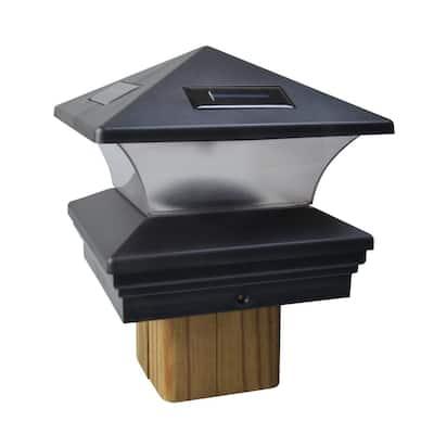 Solar Black Outdoor Integrated LED Post Cap Deck Light