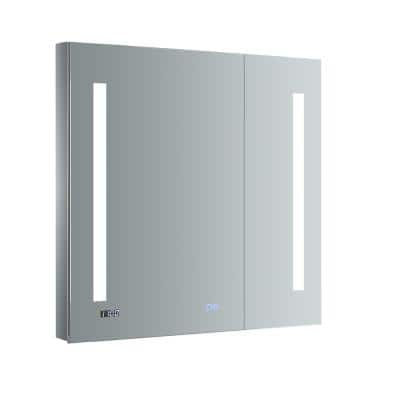 Tiempo 30 in. W x 30 in. H Recessed or Surface Mount Medicine Cabinet with LED Lighting and Mirror Defogger