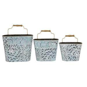 17 in., 18 in. and 21 in. Blue Metal Textured Patterned Planters with Antique Gold Metal Rim and Wood Handle (Set of 3)