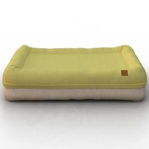 Plush Orthopedic Medium Green Beige Breathable Dog Lounge Bed Cushion