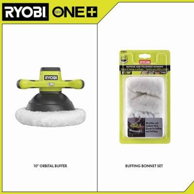 ONE+ 18V Cordless 10 in. Orbital Buffer with Bonus 8-10 in. Microfiber and Synthetic Fleece Buffing Bonnet Set (2-Pack)