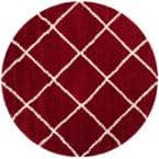 Hudson Shag Red/Ivory 7 ft. x 7 ft. Round Area Rug