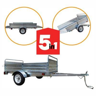 1639 lbs. Payload Capacity 4.5 ft. x 7.5 ft. Galvanized Steel Utility Trailer Kit with Bed Tilt and Collapsing Ends