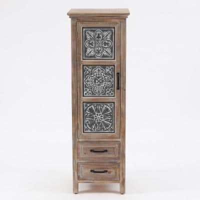 Metal & Wood Tall Tower Cabinet