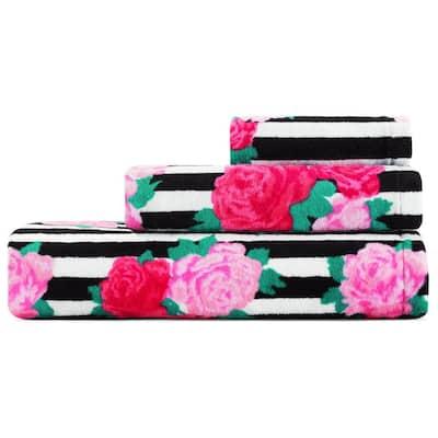Flower Stripe Pink Cotton 3-Piece Towel Set