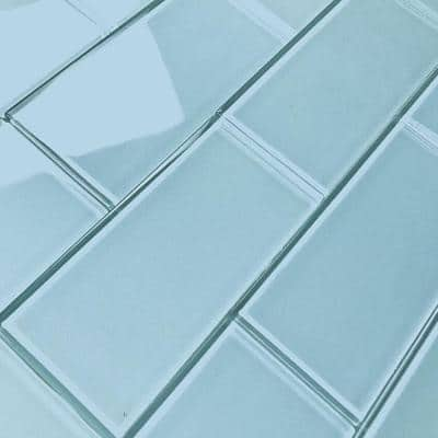 DIY Subway Light Blue 3 in. H x 6 in. H Glass Peel and Stick Tile (11 Sq. Ft./Case)