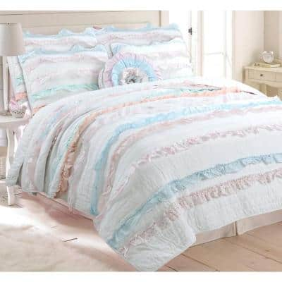 Dainty Spring Floral Pastel Ruffle Bloomer Pink Blue Peach Cotton Queen Quilt Bedding Set with 1-Decor Throw Pillows