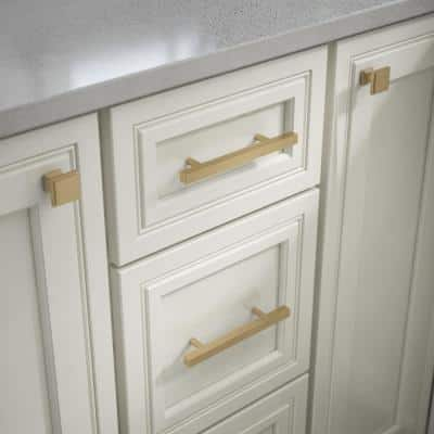 Square 3-3/4 in. (96mm) Center-to-Center Champagne Bronze Bar Drawer Pull