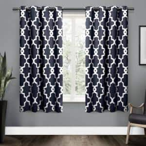 Peacoat Blue Trellis Thermal Blackout Curtain - 52 in. W x 63 in. L (Set of 2)