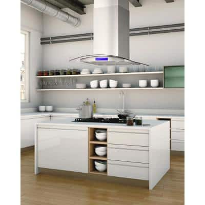30 in. Ducted Island Range Hood in Stainless Steel with LED Lighting and Permanent Filters