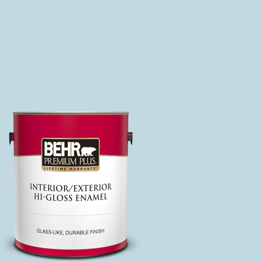 Behr Premium Plus 1 Gal S480 1 Rain Dance Hi Gloss Enamel Interior Exterior Paint 805001 The Home Depot