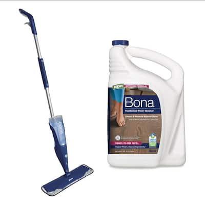 Premium Microfiber Hardwood Floor Spray Mop with Hardwood Cleaner Refill Bundle