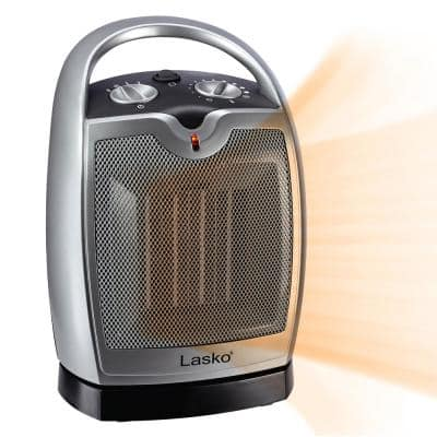 Compact 11.25 in. 1500-Watt Electric Ceramic Portable Oscillating Space Heater