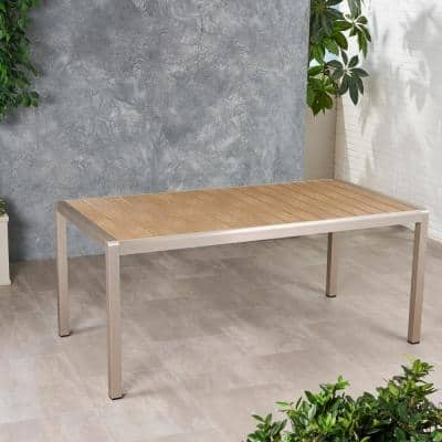 Cape Coral 30.25 in. Silver Rectangular Aluminum Outdoor Dining Table
