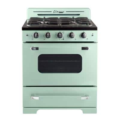 Classic Retro 30 in. 3.9 cu. ft. Gas Range with Convection Oven in Summer Mint Green