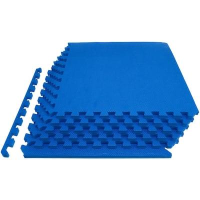 Thick Exercise Puzzle Mat Blue 24 in. x 24 in. x 0.75 in. EVA Foam Interlocking Anti-Fatigue (6-pack) (24 sq. ft.)