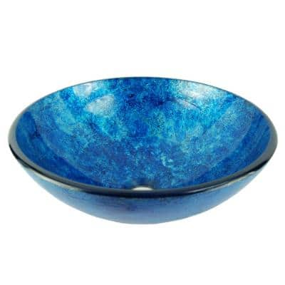 Stratosphere Crackle Foil Leaf Glass Vessel Sink in Blue