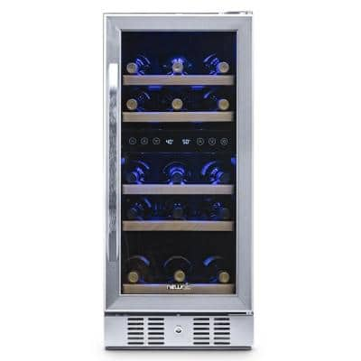 Dual Zone 29-Bottle Built-In Compressor Wine Cooler Fridge Quiet Operation and Beech Wood Shelves, Stainless Steel
