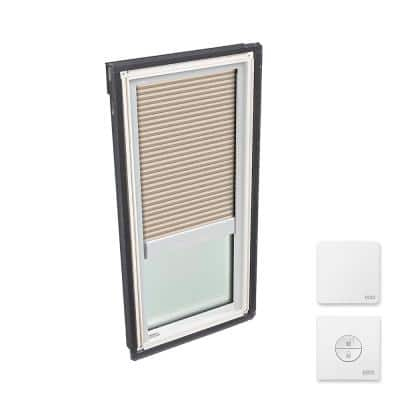 14-1/2 in. x 45-3/4 in. Fixed Deck Mount Skylight with Laminated Low-E3 Glass & Beige Solar Powered Room Darkening Blind