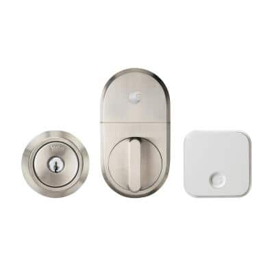 Wi-Fi Smart Lock Silver Single Cylinder Deadbolt with Traditional Exterior Keyway