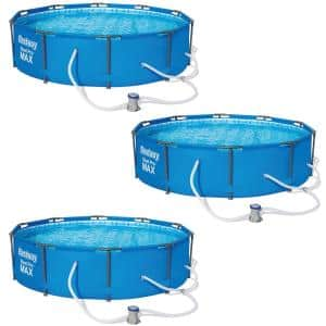 10 ft. Steel Pro Frame Round 30 in. Above Ground Swimming Pool Set (3-Pack)
