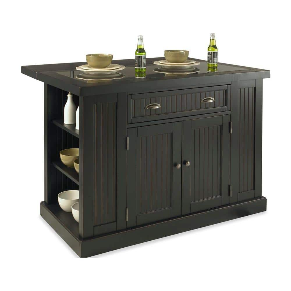 Homestyles Nantucket Black Kitchen Island With Granite Top 5033 94 The Home Depot