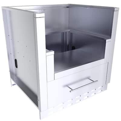 Designer Series 304 Stainless-Steel 33 in. x 34.5 in. x 28.25 in. Power Burner Cabinet
